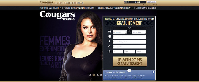 Capture d'écran du site Cougars Avenue